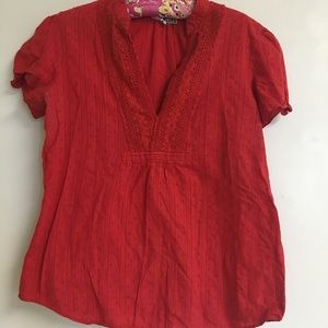 Tops - Red Swiss and dot blouse